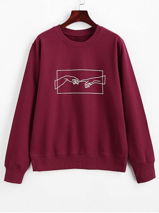 fashion ZAFUL Hands Graphic Basic Pullover Sweatshirt - RED WINE S