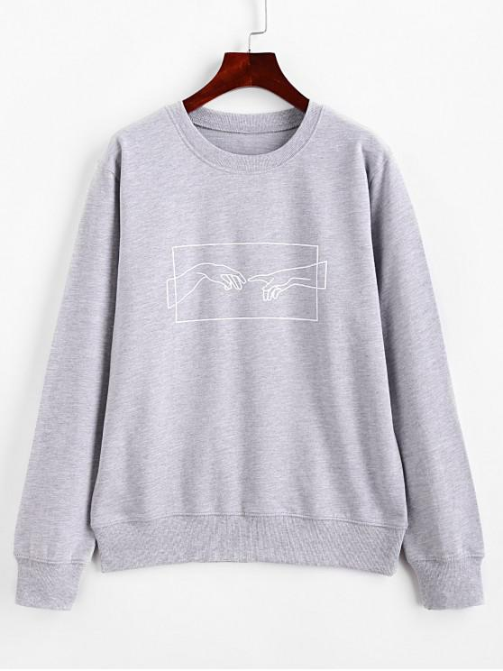 womens ZAFUL Hands Graphic Basic Pullover Sweatshirt - GRAY XL