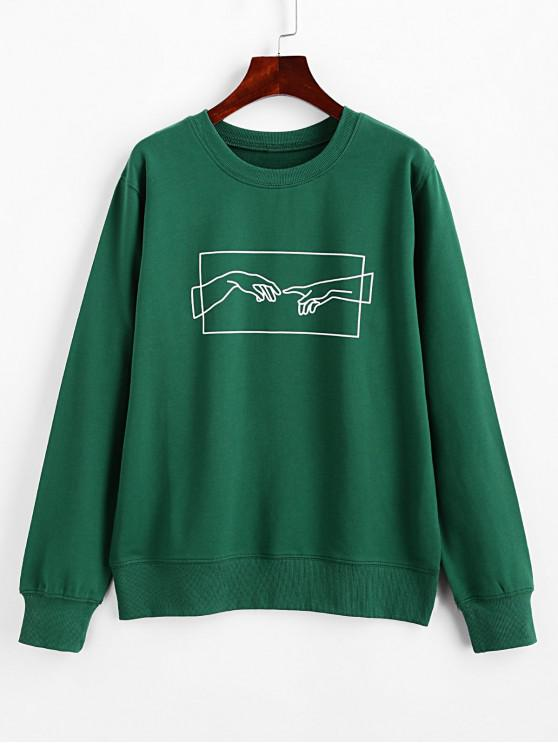 women ZAFUL Hands Graphic Basic Pullover Sweatshirt - SHAMROCK GREEN S
