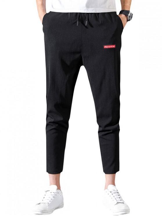 Impresión de la letra de lazo pantalones casuales - Negro M