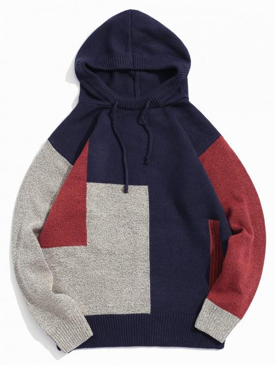 Colorblock empalmado con cordón del suéter encapuchado - Cadetblue XS