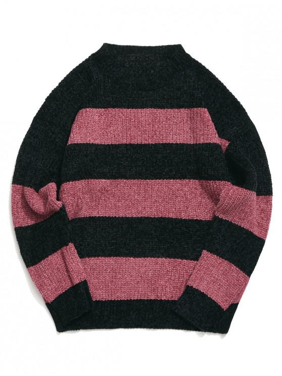 trendy Colorblock Stripes Drop Shoulder Pullover Sweater - PINK L