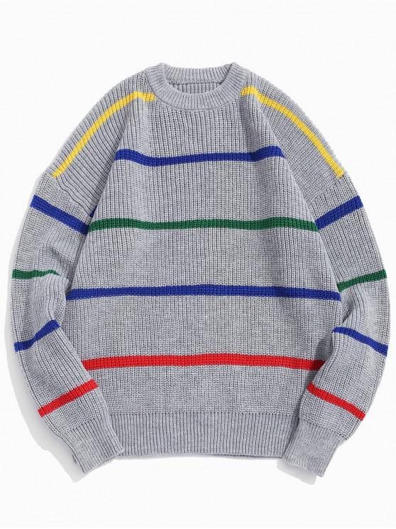 chic Stripes Graphic Rib-knit Trim Pullover Sweater - LIGHT GRAY XL