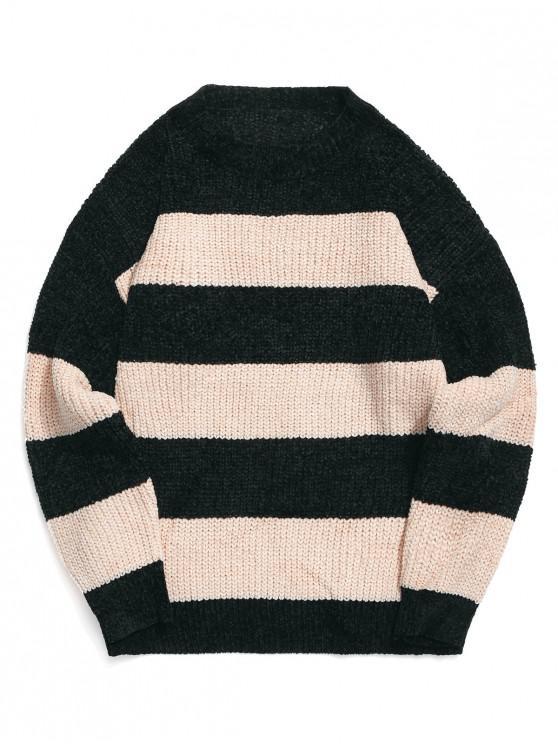 hot Colorblock Stripes Drop Shoulder Pullover Sweater - LIGHT KHAKI 2XL