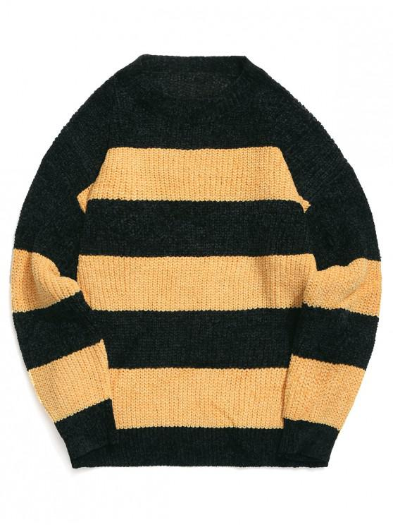 outfits Colorblock Stripes Drop Shoulder Pullover Sweater - BEE YELLOW M