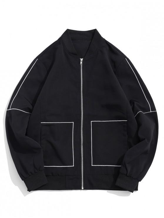 womens Contrast Embroidery Stripes Zip Up Jacket - BLACK L
