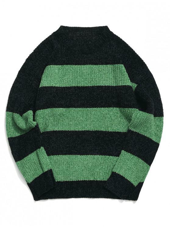 Colorblockストライプドロップショルダープルオーバーセーター - 緑 2XL