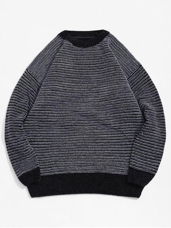 Patrón de rayas de manga Drop-hombro ocasional del suéter - Negro 2XL