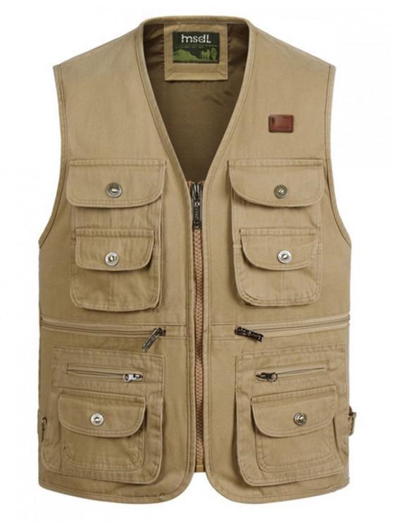 shop Outdoor Multi Pockets Cargo Waistcoat - KHAKI XL