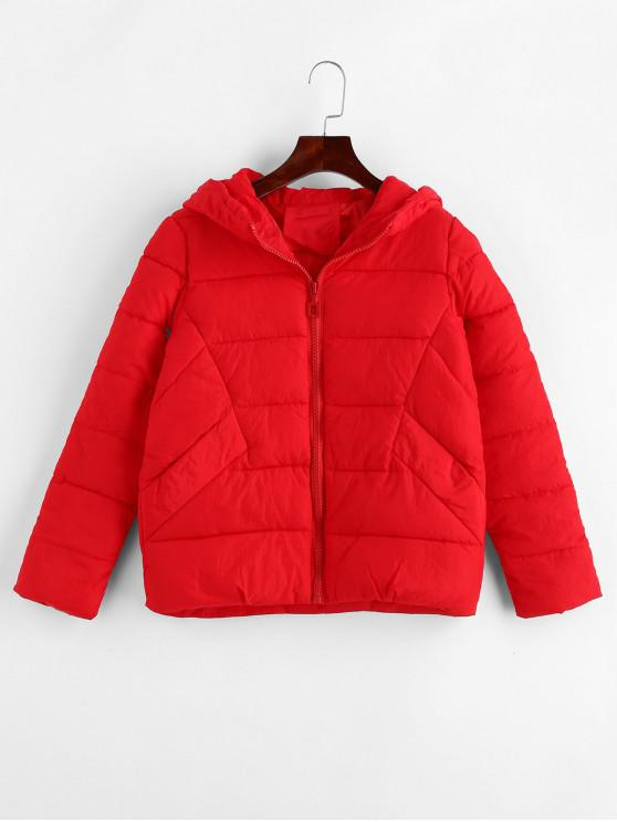 online Hooded Puffer Jacket - RED 2XL