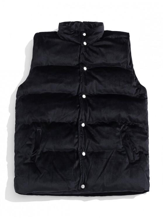 sale Solid Velour Snap Button Quilted Waistcoat - BLACK XS