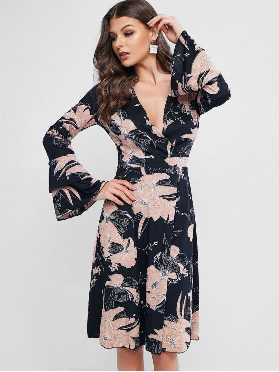 fashion Layered Flare Sleeve Floral Surplice Dress - BLACK L