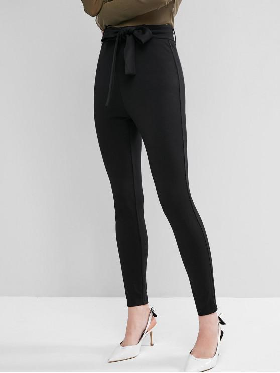 women ZAFUL Belted High Waisted Skinny Leggings - BLACK M