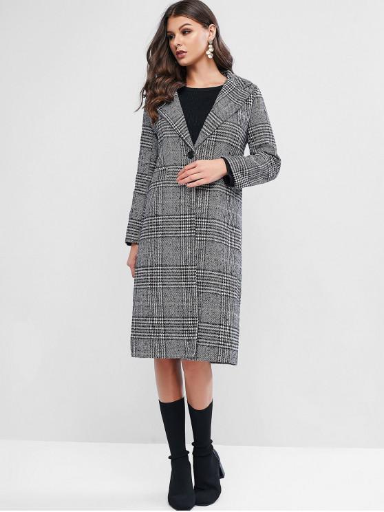 women Plaid Lapel Pocket Slit Tweed Long Coat - MULTI M