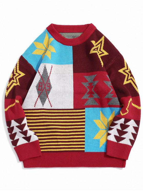 trendy Colorblock Panel Snowflake Christmas Pullover Sweater - RED S