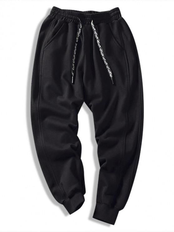 outfits Color Spliced Pocket Decorated Casual Pants - BLACK 3XL