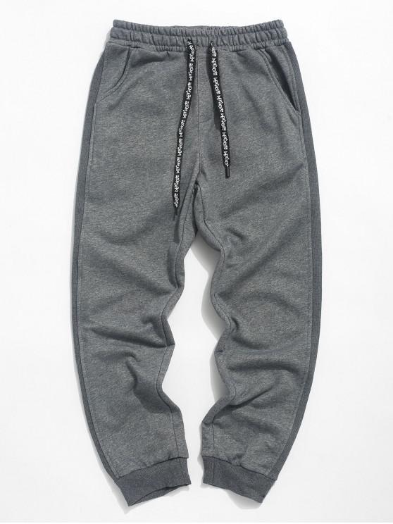 unique Color Spliced Pocket Decorated Casual Pants - DARK GRAY XL