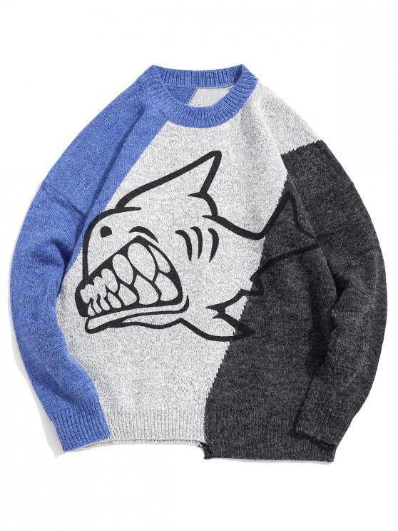 women Shark Graphic Colorblock Spliced Pullover Sweater - BLUE L