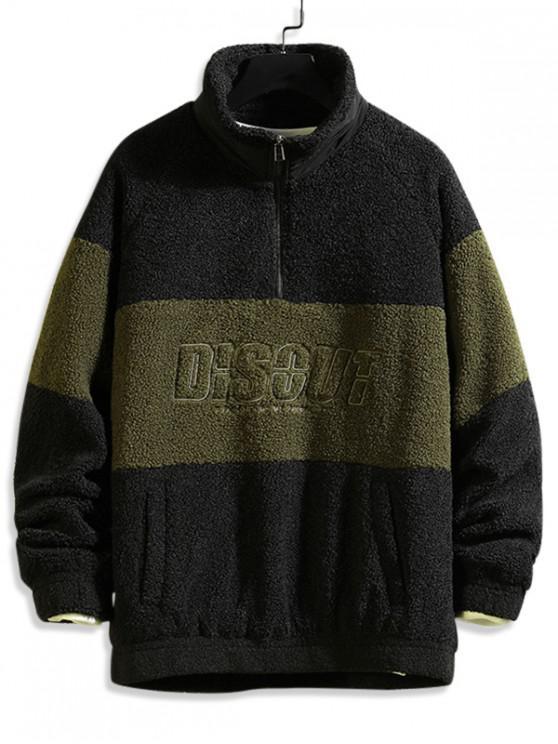 hot Letter Graphic Colorblock Spliced Raglan Sleeve Faux Fur Jacket - BLACK L
