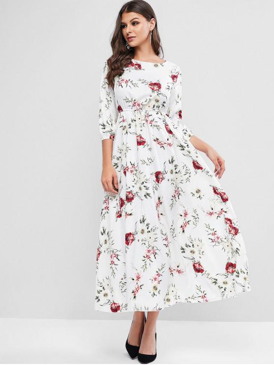 women Flower Print A Line Maxi Bohemian Dress - WHITE S