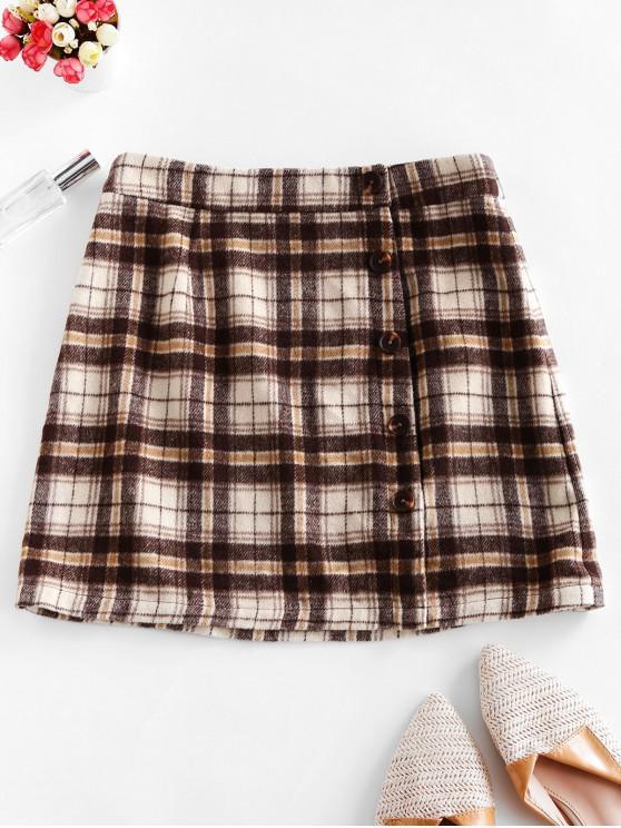 shop ZAFUL Mock Button Wool Blend Plaid Skirt - MULTI L