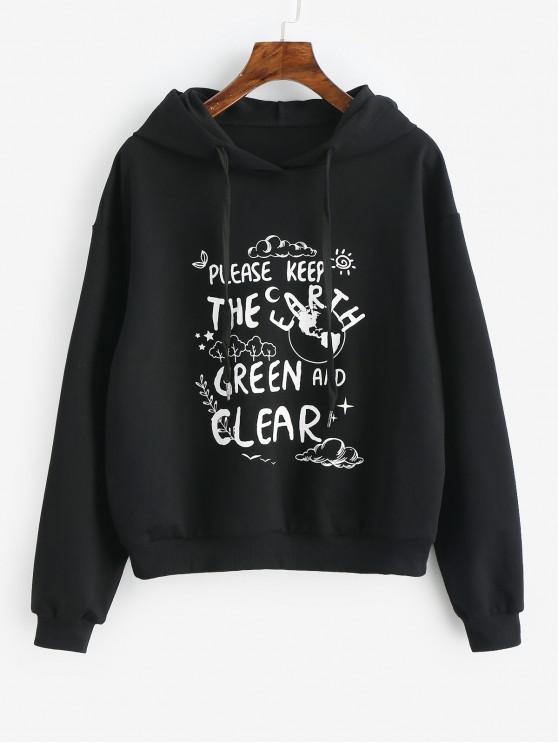 fashion Eco-Friendly Slogan Hoodie - BLACK XL