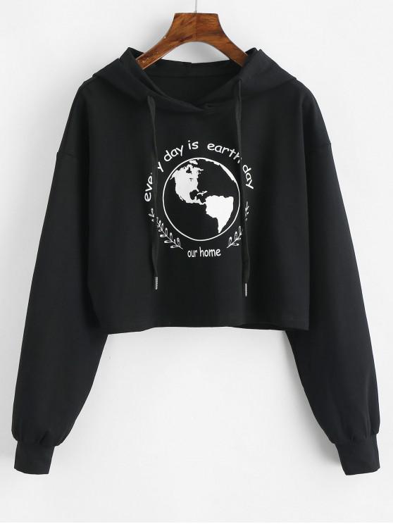 ladies ZAFUL Earth Day Slogan Crop Hoodie - BLACK XL