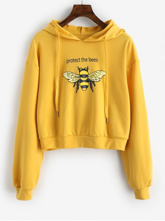fashion ZAFUL Protect the Bees Slogan Hoodie - GINGER BROWN L