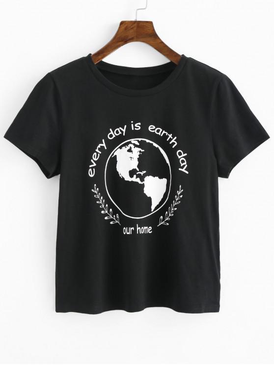 unique Earth Day Slogan Short Sleeves Tee - BLACK M