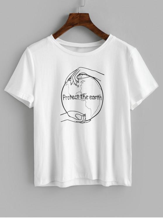 women ZAFUL Slogan Short Sleeves Tee - WHITE XL