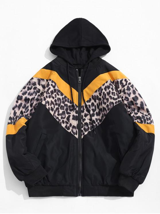sale Colorblock Spliced Leopard Chevron Print Hooded Quilted Jacket - YELLOW L