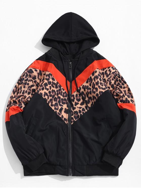 best Colorblock Spliced Leopard Chevron Print Hooded Quilted Jacket - TIGER ORANGE L
