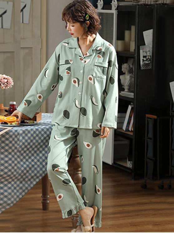 Rüsche-Frucht-Druck-Baumwoll Pyjama Set - Grün 2XL