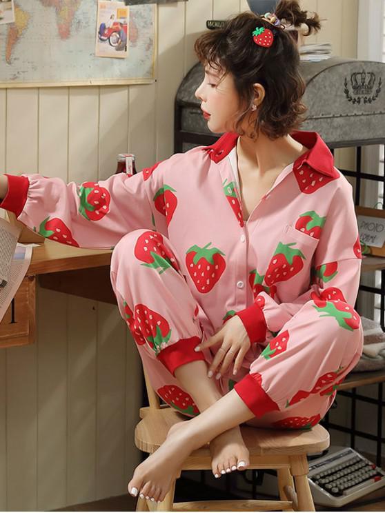 women Strawberry Print Pajamas Set - PIG PINK M