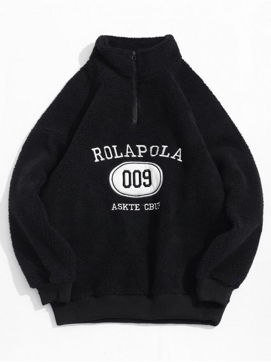 sale Letter Embroidery Vent Zip Sweatshirt - BLACK XL