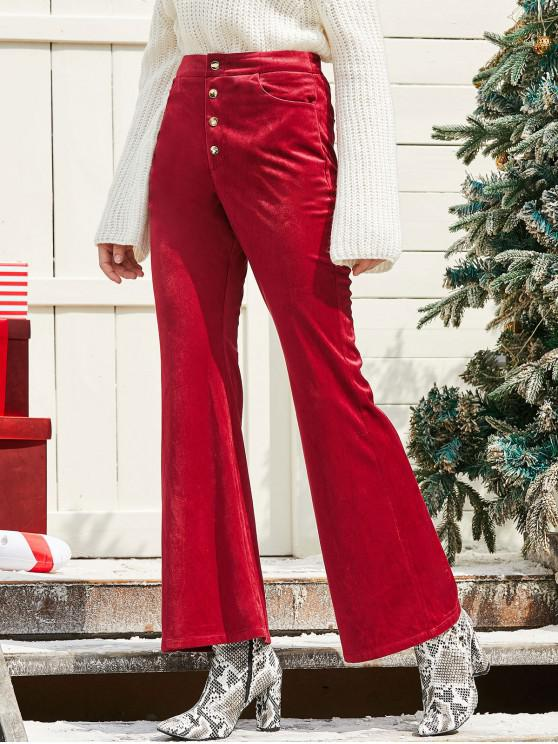 trendy ZAFUL Snap Button Solid Christmas Corduroy Bootcut Pants - RED WINE M