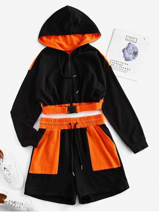 ladies ZAFUL Colorblock Zip Up Drawstring Two Piece Suit - BLACK XL