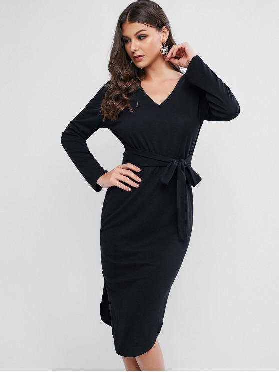 fancy Tie Long Sleeve Slit Midi Bodycon Dress - BLACK M
