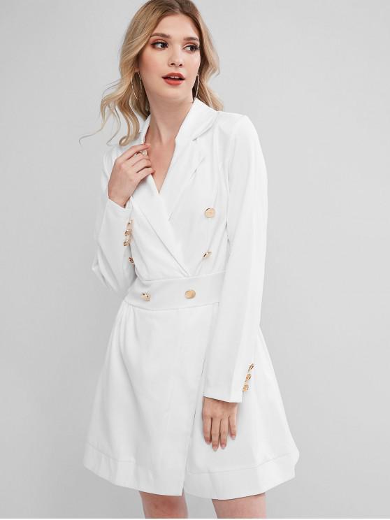trendy Long Sleeve Buttoned Overlap Office Dress - WHITE M