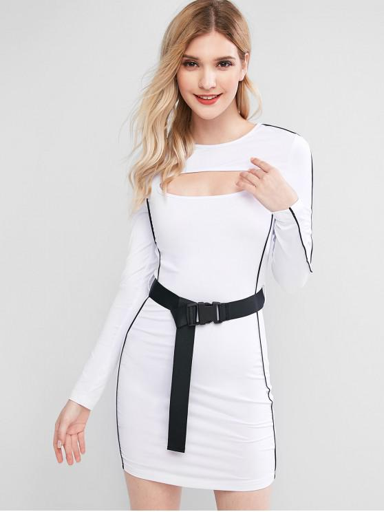 chic Piping Cutout Buckle Belted Long Sleeve Dress - WHITE L