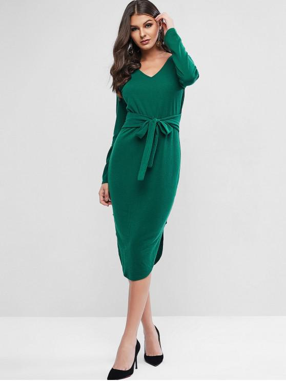 hot Tie Long Sleeve Slit Midi Bodycon Dress - ARMY GREEN L
