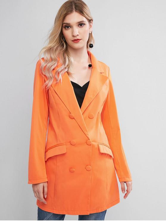 Карманы Двубортный Длинный Блейзер - Оранжевый XL