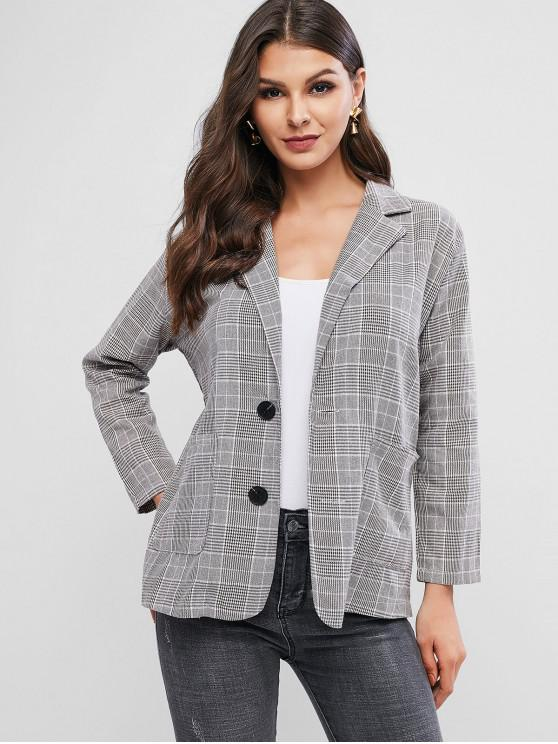 lady Single Button Plaid Blazer - DARK KHAKI ONE SIZE