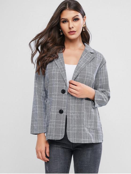 fashion Single Button Plaid Blazer - BLACK ONE SIZE