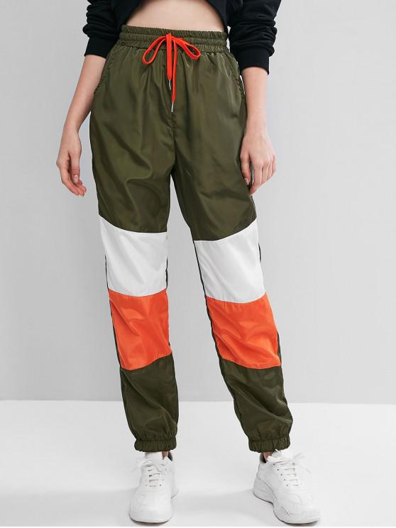 new ZAFUL Color-blocking Drawstring Windbreaker Pocket Jogger Pants - ARMY GREEN L