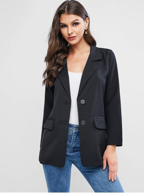 lady Flap Pocket Basic Blazer - BLACK ONE SIZE
