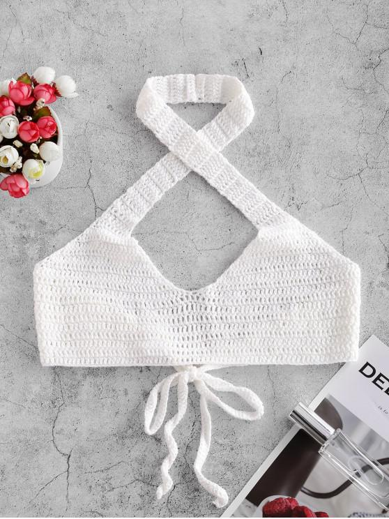 online Halter Crossover Crochet Bikini Top - WHITE ONE SIZE