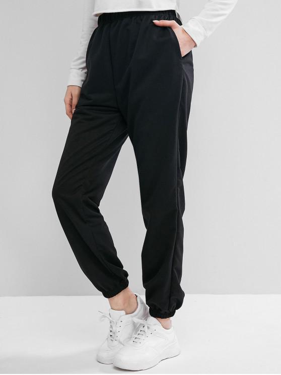 womens High Waist Slant Pockets Jogger Pants - BLACK S