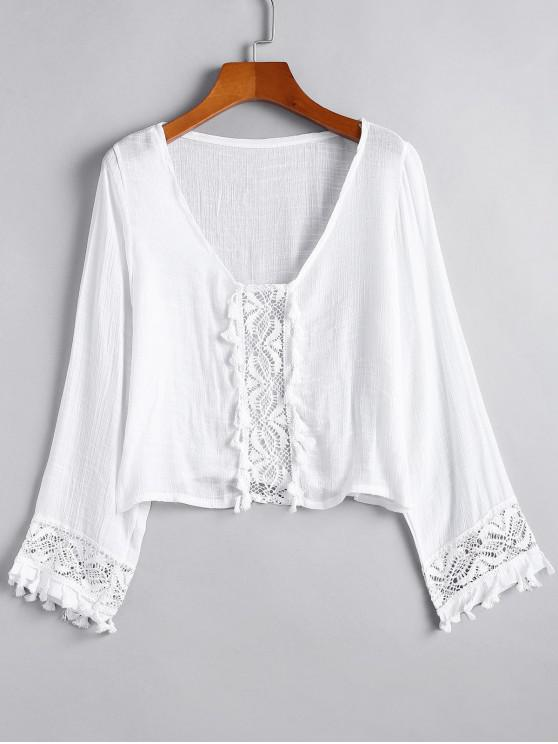 fashion Lace Panel Tassels Long Sleeve Top - WHITE ONE SIZE