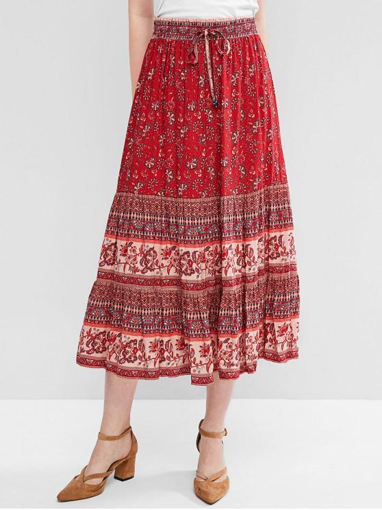 fancy Boho Floral Drawstring Midi Skirt - RED M